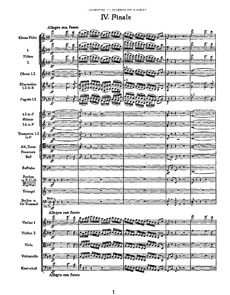 Orchestral Score, first page of Tchaikovsky's Fourth Symphony, Finale. (Google Images)
