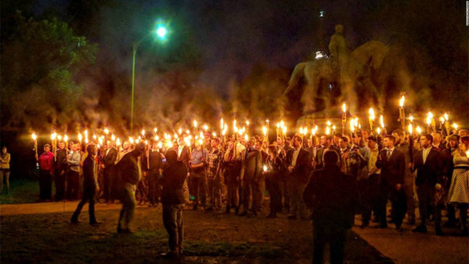 White supremacists display the fearsome power of the discount Tiki torch in Charlottesville, Va,  August 2017. (google.com)