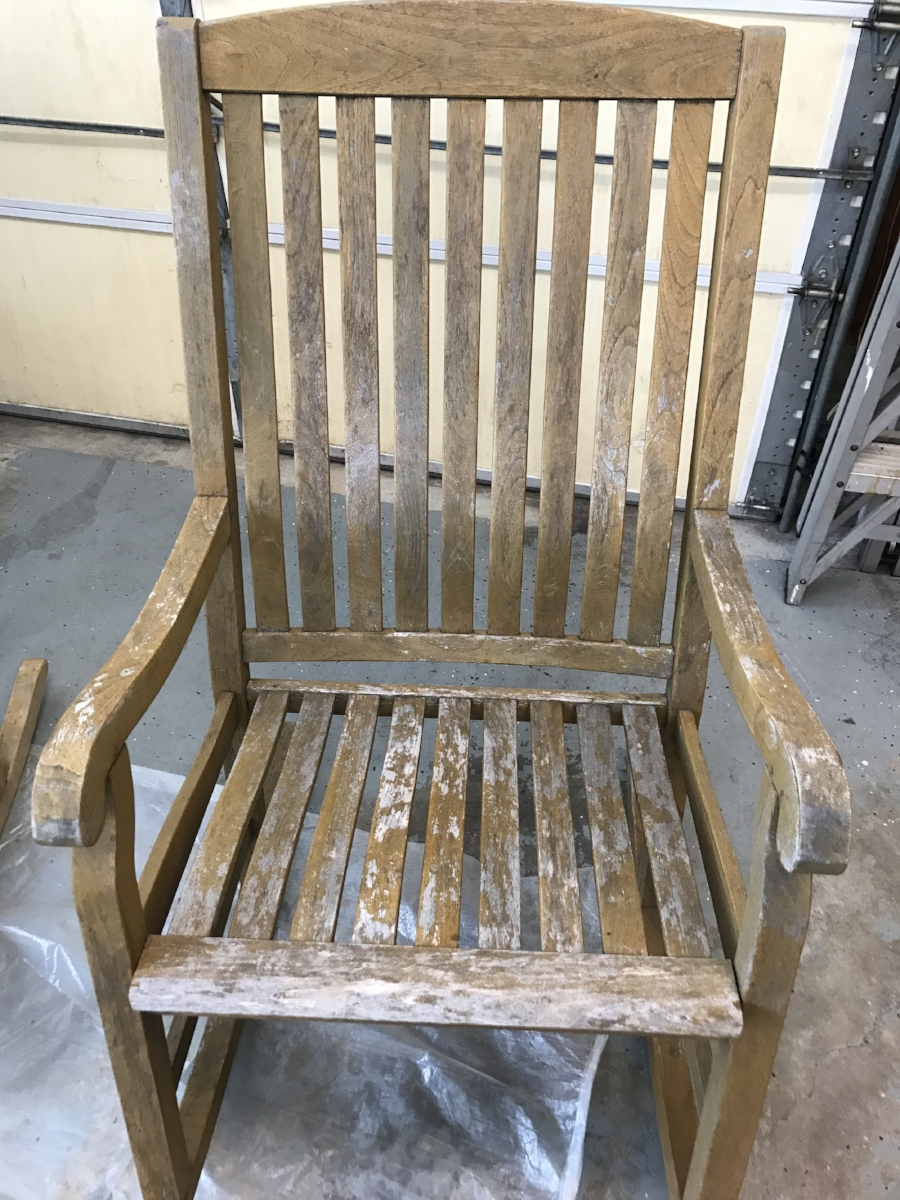 Before: This well made rocker had the finish peeling off and was headed to the dump.