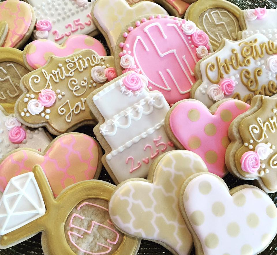 Pictured: from-scratch decorated sugar cookies with meringue royal icing and edible metallic gold overlay.