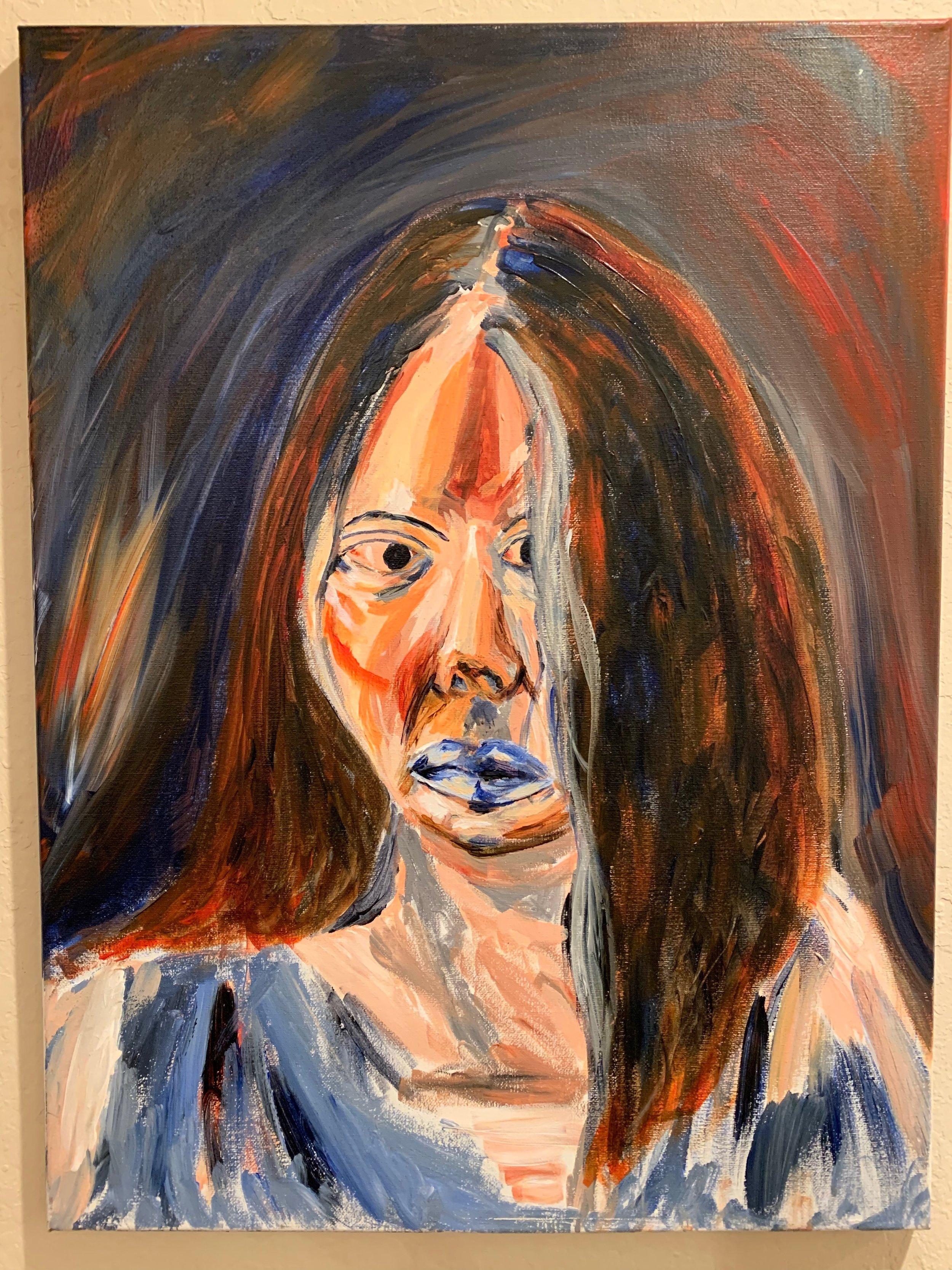 First Self-Portrait. Acrylic on Canvas. 18x24. 2017.