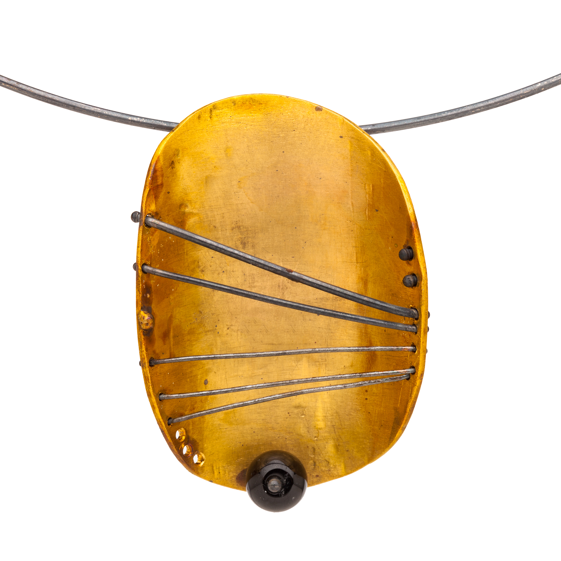 """Title of Piece: Pelagos (after Hepworth). First in the Series Called """"Pelagos (after Hepworth)."""" Pendant materials: 22k gold, oxidized sterling silver, black tourmaline. About 1.5 inches long by 1 inches wide. 2019"""