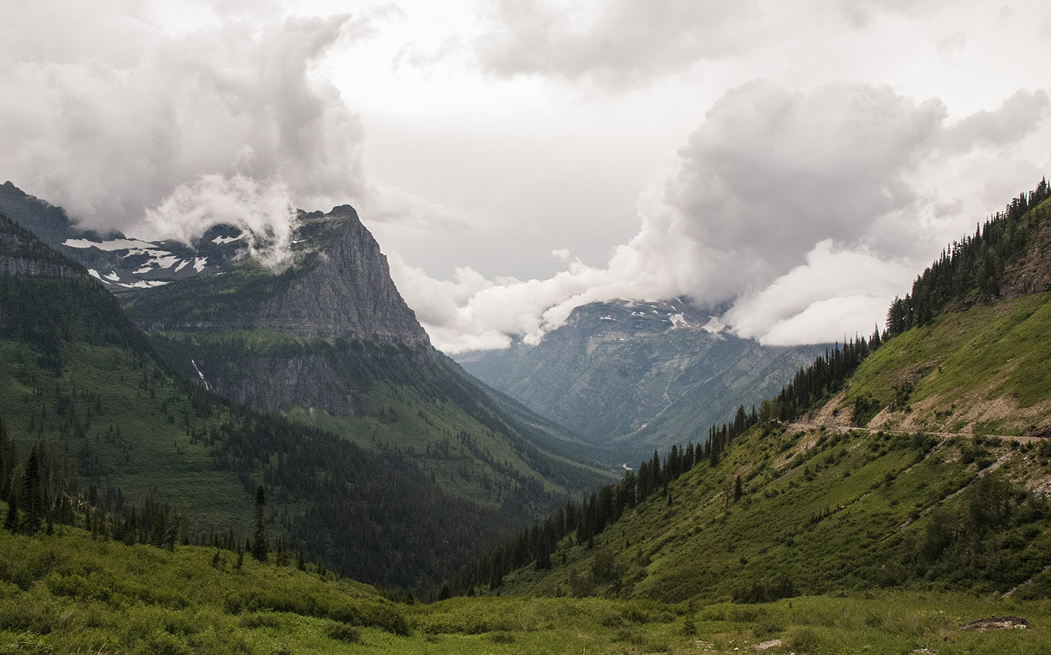 Clouds rolling in over Glacier National Park