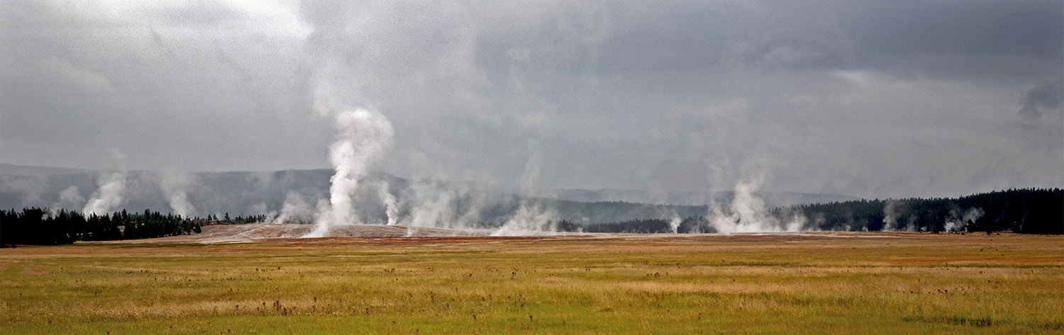 Field of geysers at Yellowstone National Park