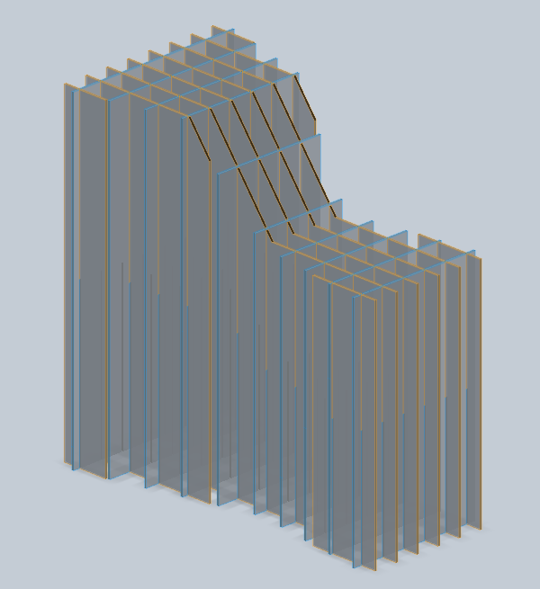 3D model, converted into slices for cardboard construction.