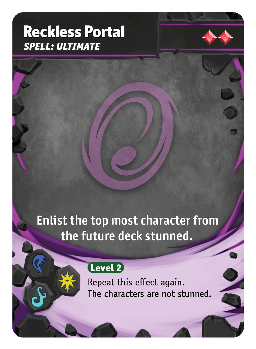 Reckless Portal - Reckless Portal is both a utility card and a game ender. Jin can easily gain characters from the future deck at any time. At Level 2, you can get two characters ready to go in for the finishing blow.