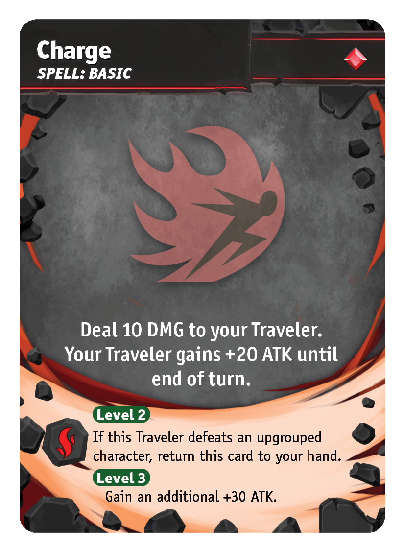 Charge - Give your Traveler a devestating 50 ATK! Hit ungrouped characters to recover the spell immediately and keep the pressure on. Since your Traveler will be taking damage and front-lined due to attacking, its critical to draft cards with shared defensive abilities.