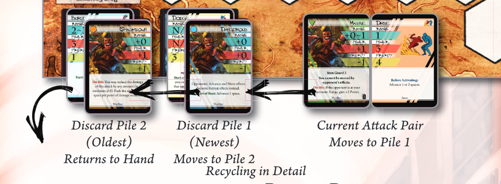 Notice that Discard Pile 1 contains the Newest Attack.
