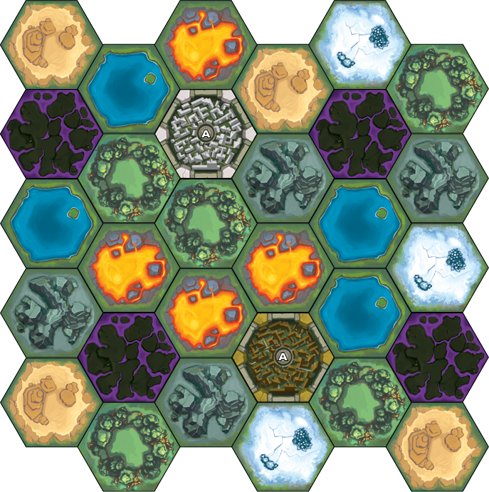 Here's a look at one of the hex tiles in Empyreal (still a work-in-progress). Build across the various terrains of the world to connect cities and ship goods!