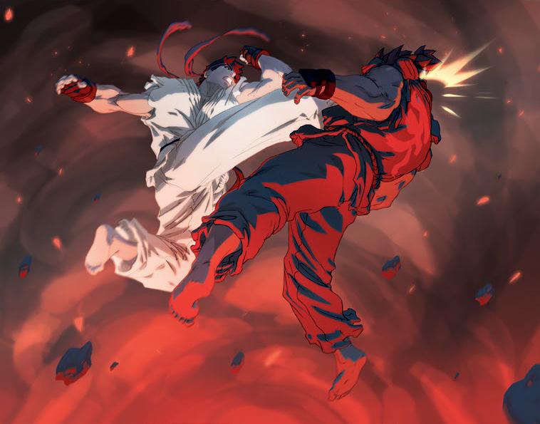 Ryu giving Akuma a good Tatsu.