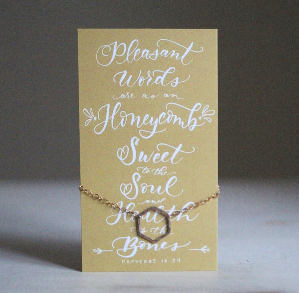 Pleasant Words Are As An Honeycomb Hexagon Necklace Pamela Susan