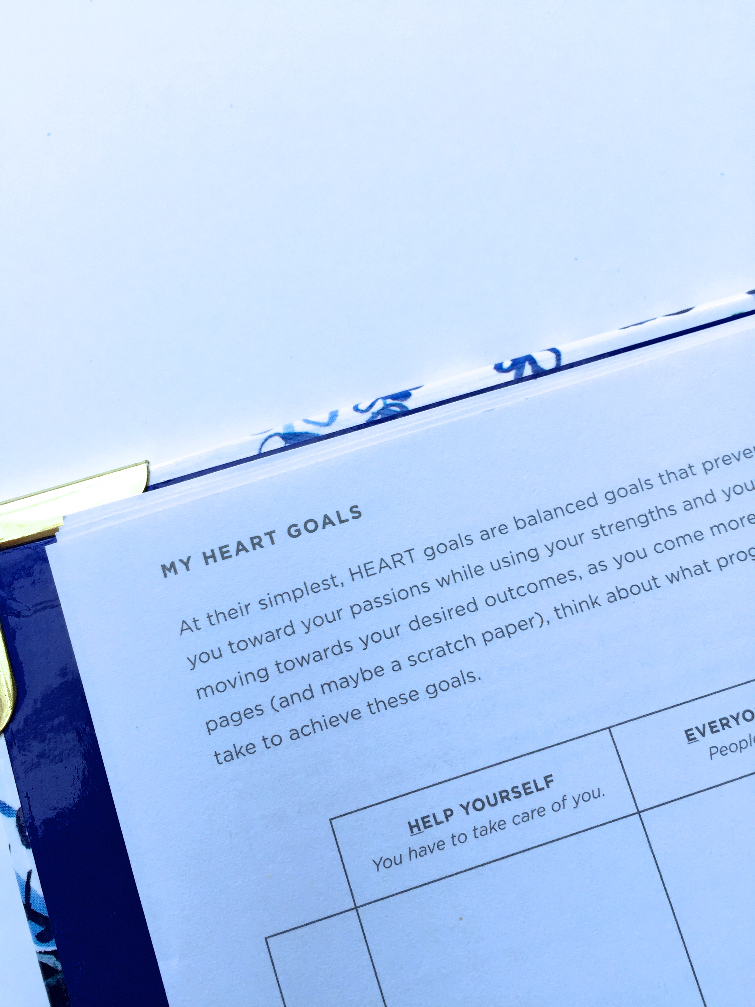 Goal setting pages in the Day Designer