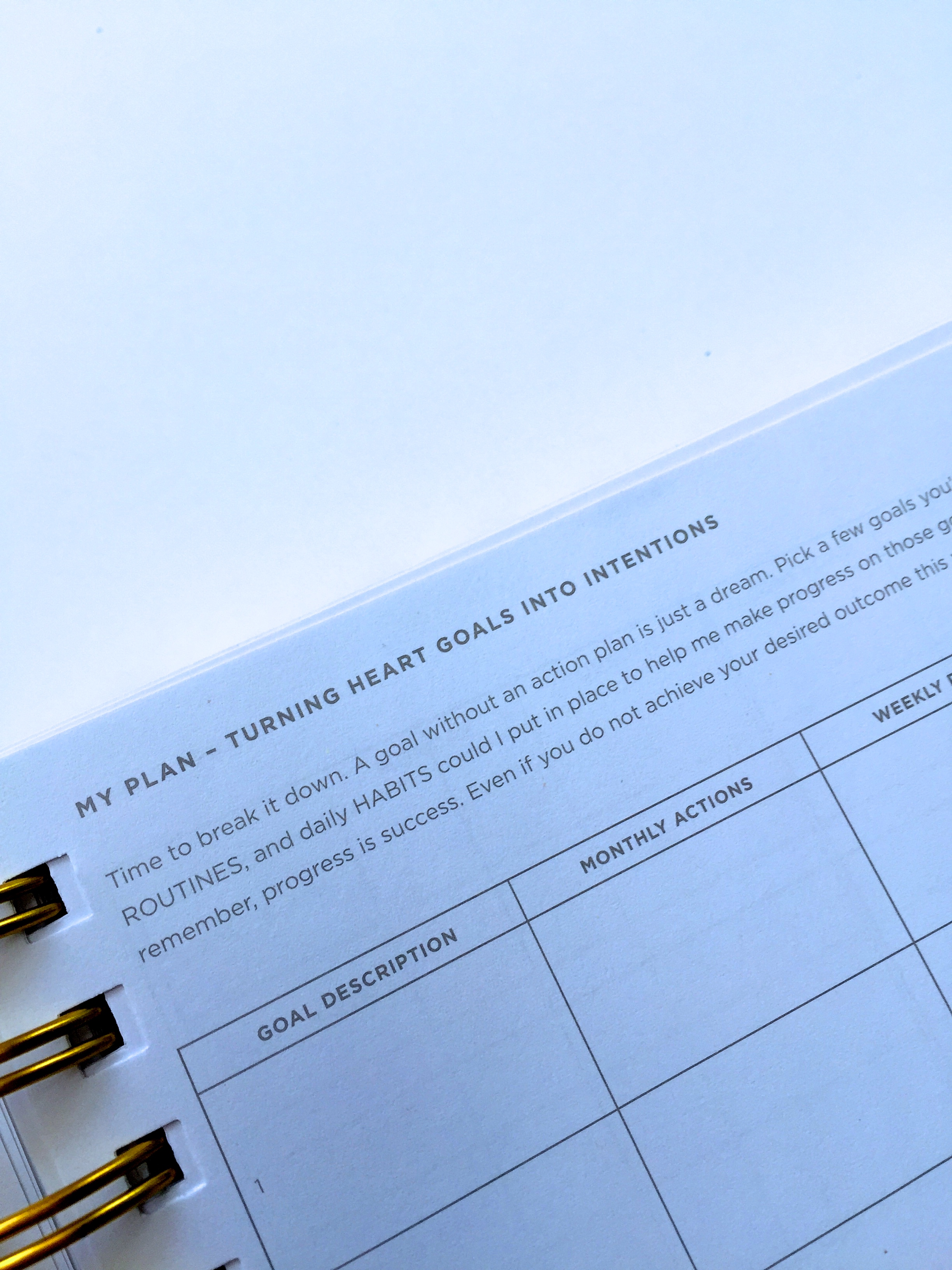 Goal Setting pages