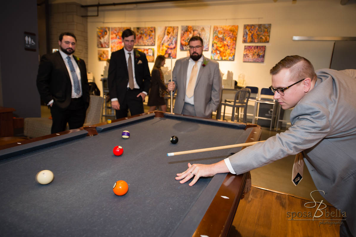 A quick game of pool helps to keep everyone relaxed and having fun before ceremony starts!