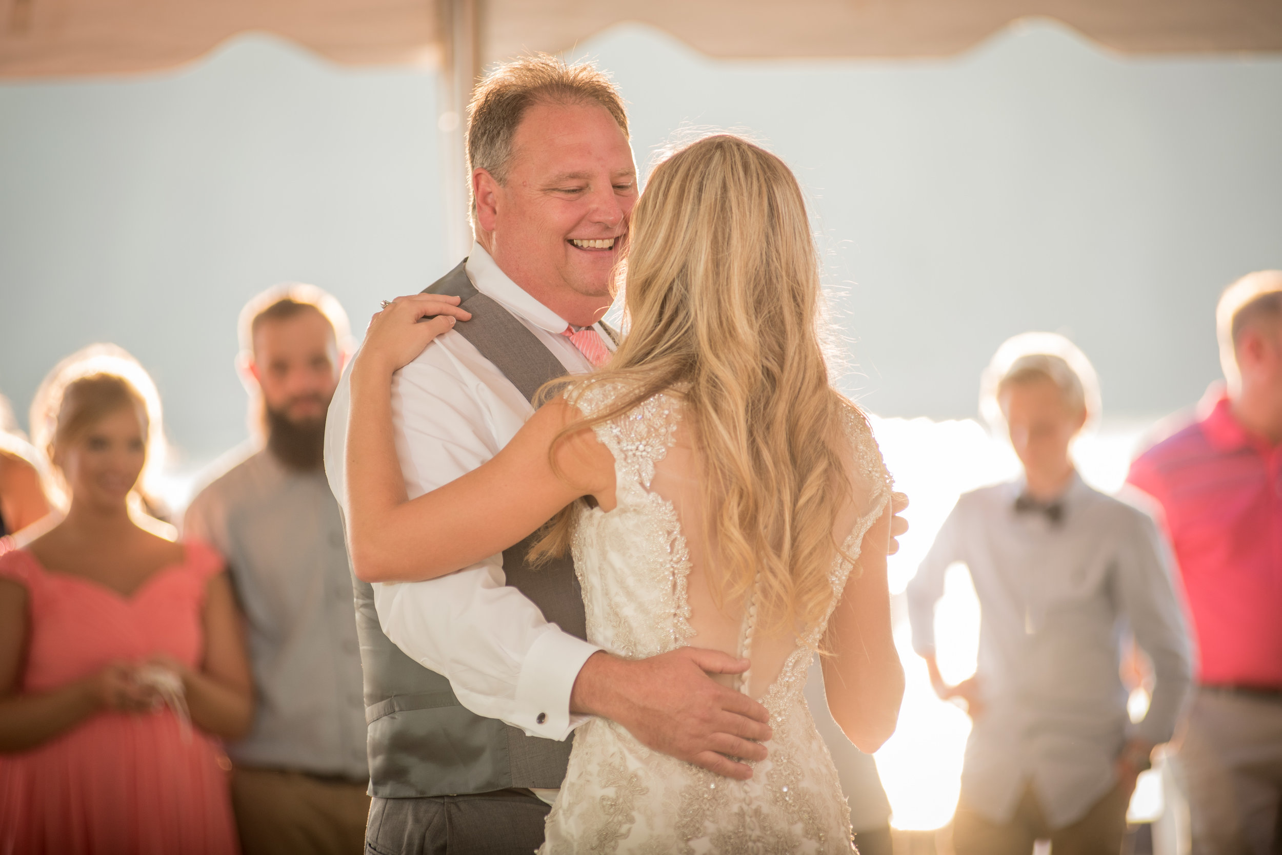 "Of course, Dad could not let the Groom have all the fun so he & Leah did a coregraphed dance to a mix of songs that included: ""Daughters""-John Mayer, ""Grease Lightning"", ""Apache""- Sugarhill, ""Jump On it"" and lastly ""Stayin' Alive"" by the Bee Gees."
