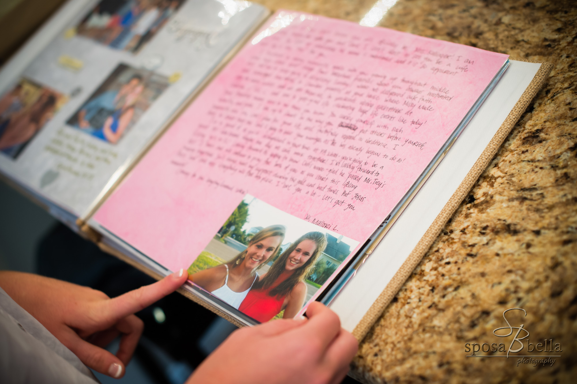 Courtney's bridesmaids presented her a beautiful scrapbook the morning of her wedding. Each wrote a note as a keepsake in celebration of the day.
