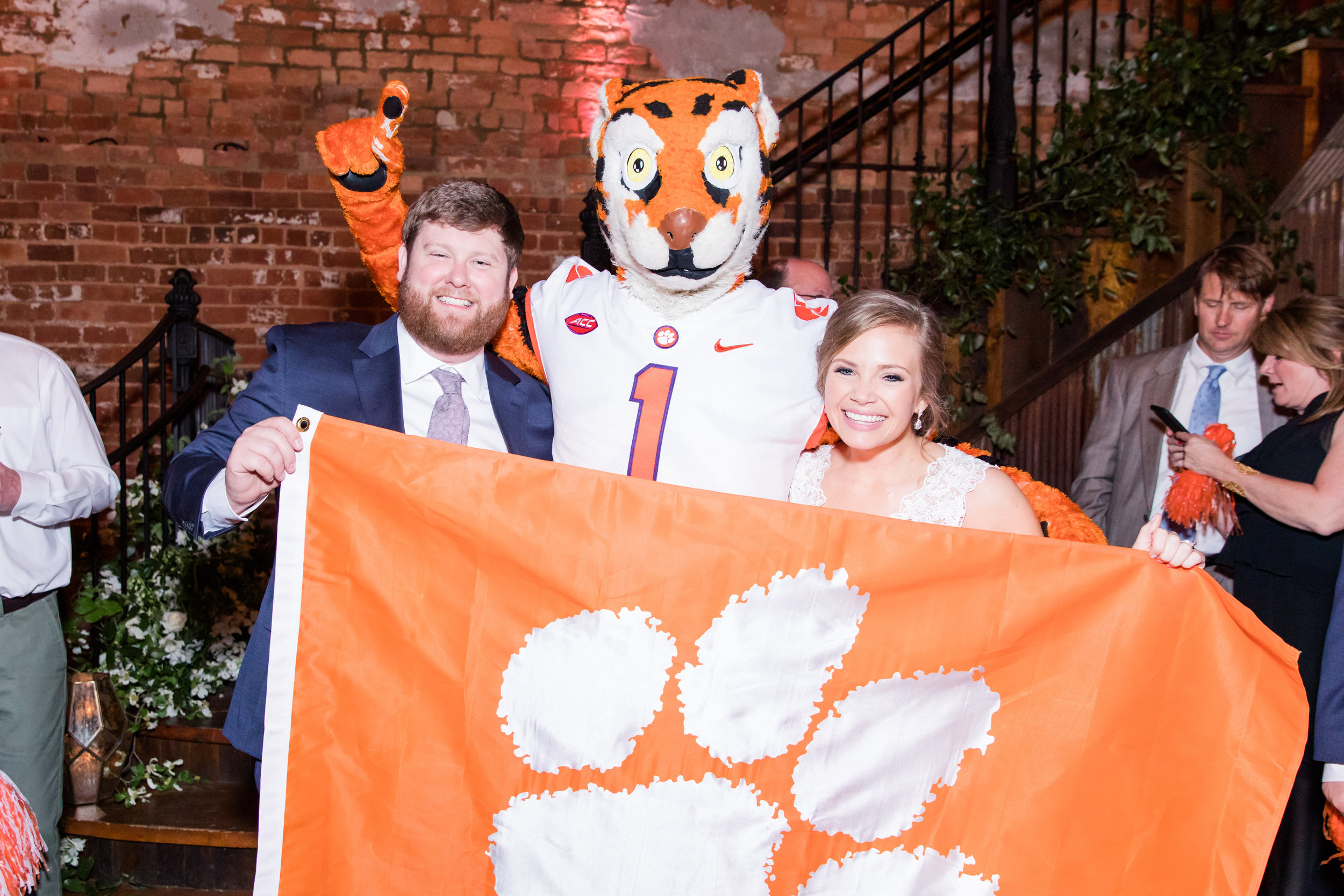 What Clemson wedding is complete without an appearance from the Clemson Tiger, himself. We love incorporating mascots into the wedding dance party.