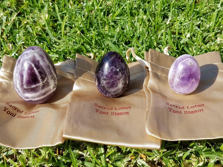 AMETHYST - Yoni Egg Crystal (GIA Certified) — Sacred Lotus Yoni Steam