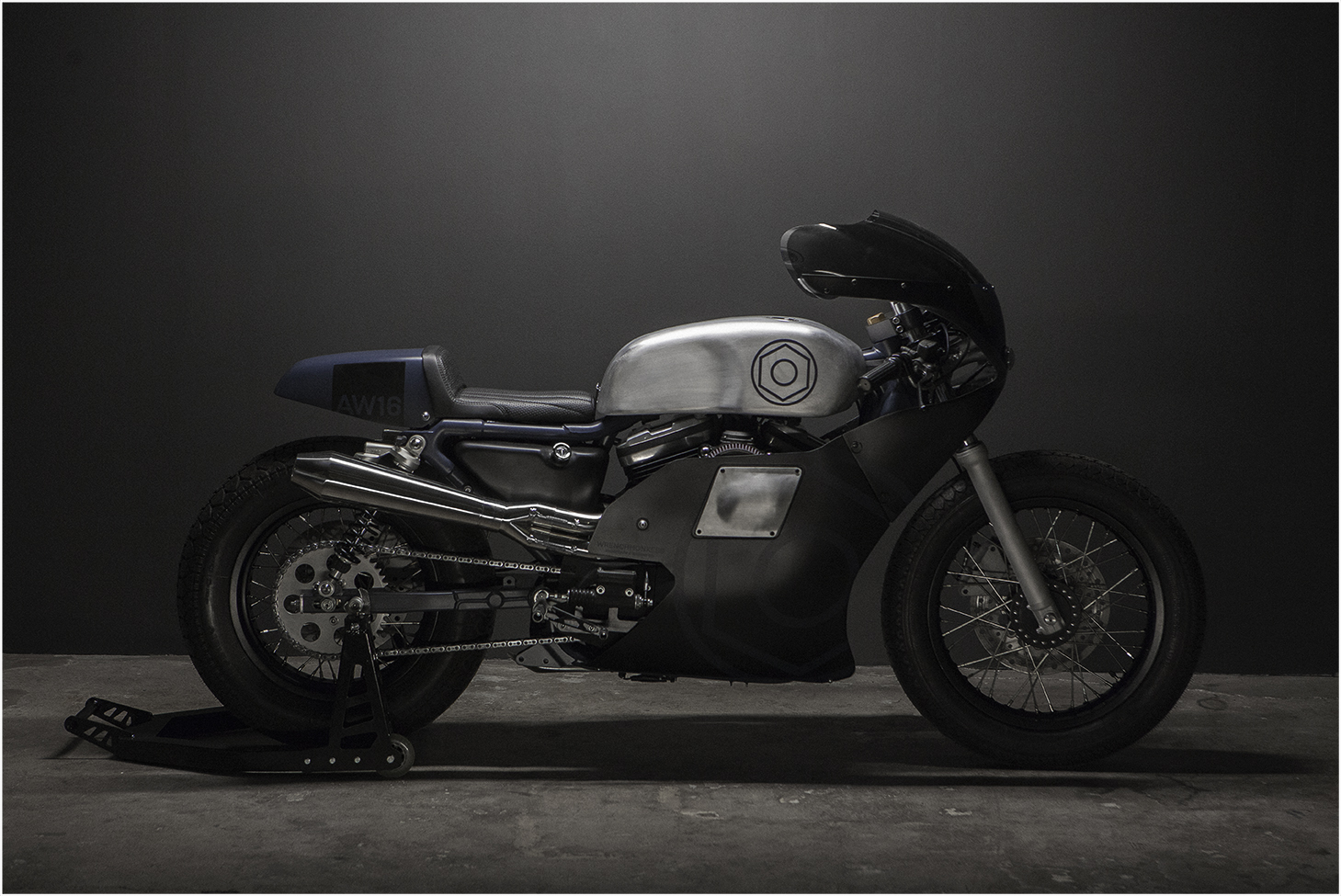 Each year we build a motorcycle, which is both inspired by and inspiration for the current year's collections. On this picture is the Wrenchmonkees AW16 bike made for the 2016 collections.