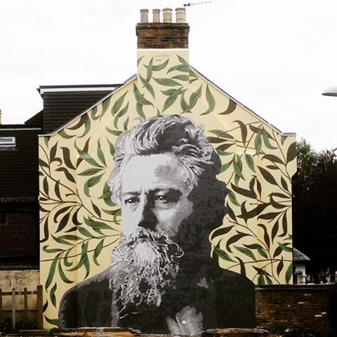 William Morris aka Big Willy aka WillMo portrait in collaboration with the HEET Project (for side insulation) & William Morris Big Local as park of the #pickyourpattern project, painted by @atmastudio with support of @hatch_art #streetartlondon #streetart #mural #williammorris #usefulandbeautiful