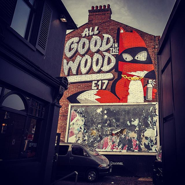"""""""All Good in the Wood"""" by @rzo1 as part of Paint Your London for the @woodstreetwalls project - photo courtesy of @hookedblog #giveartistsspace #streetartlondon #streetart #walthamstow #e17 #urbanart"""