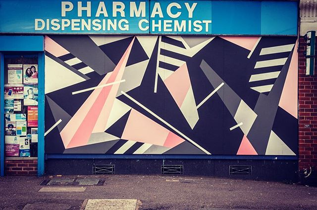 """@markmcclure on Forest Pharmacy #e17 as part of """"Paint Your London"""" for the @woodstreetwalls project. #giveartistsspace #urbanart #streetart #streetartlondon #geometric #walthamstow"""