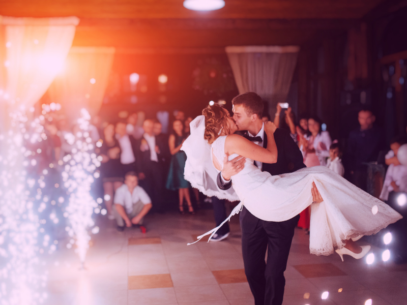 Indoor fireworks will light up the dance floor for your first dance.  Looking for fun ways to add flare to your big day?  Find unique ideas at dancingbrides.com