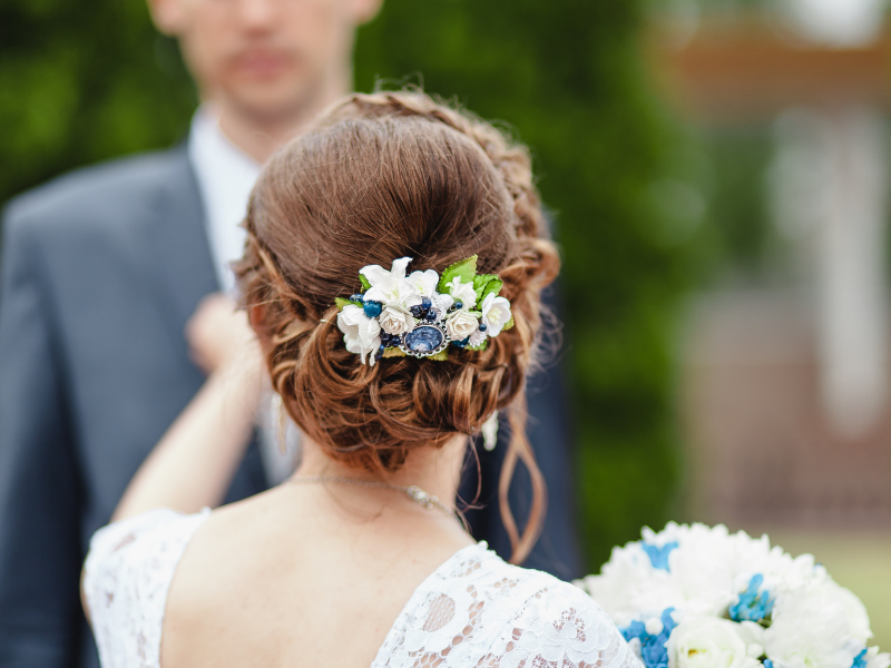 Looking for ideas for your something blue?  Wearing something blue in your hair is a beautiful way to show it off.  Find more ideas at dancingbrides.com