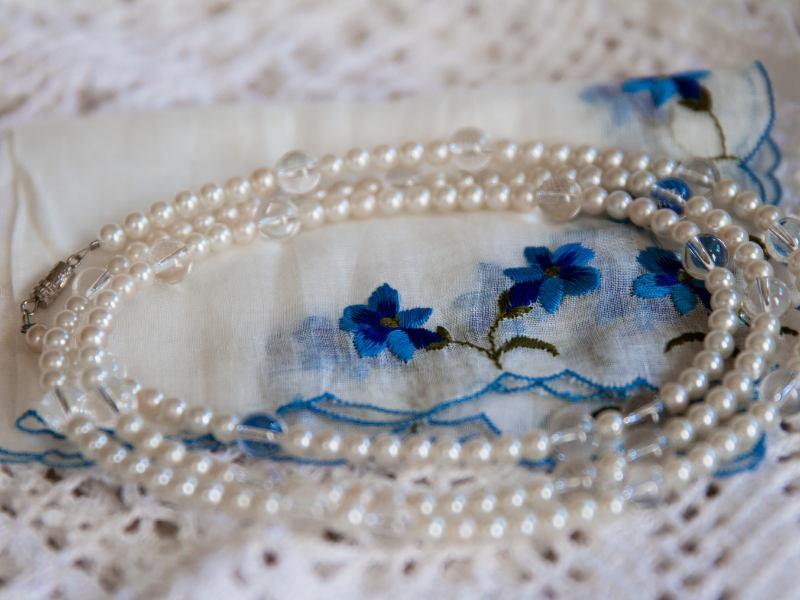 Looking for ideas for your something blue?  Having someone close to you embroider something special on it with blue thread is a meaningful way to incorporate your something blue.  Find more ideas at dancingbrides.com
