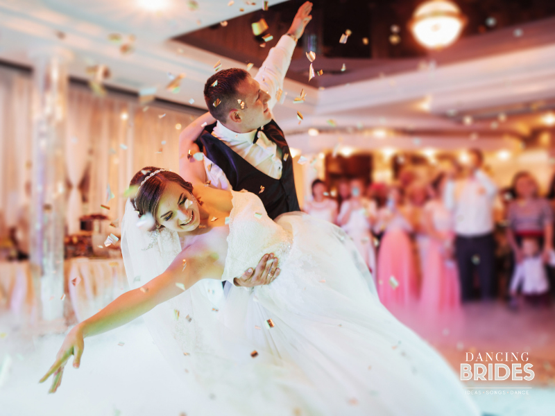 The choreographed routine is one of three options for your first dance as hubby and wife.  Find the right type of wedding dance for you at dancingbrides.com