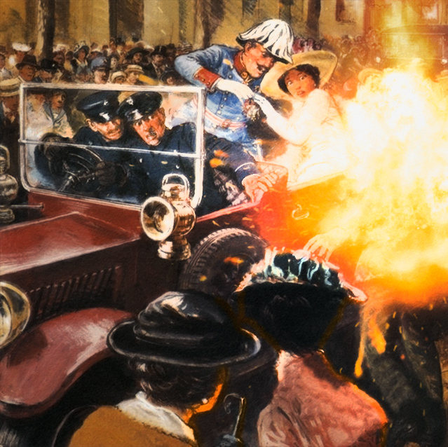 A bomb detonates in front of Archduke Franz Ferdinand and his wife