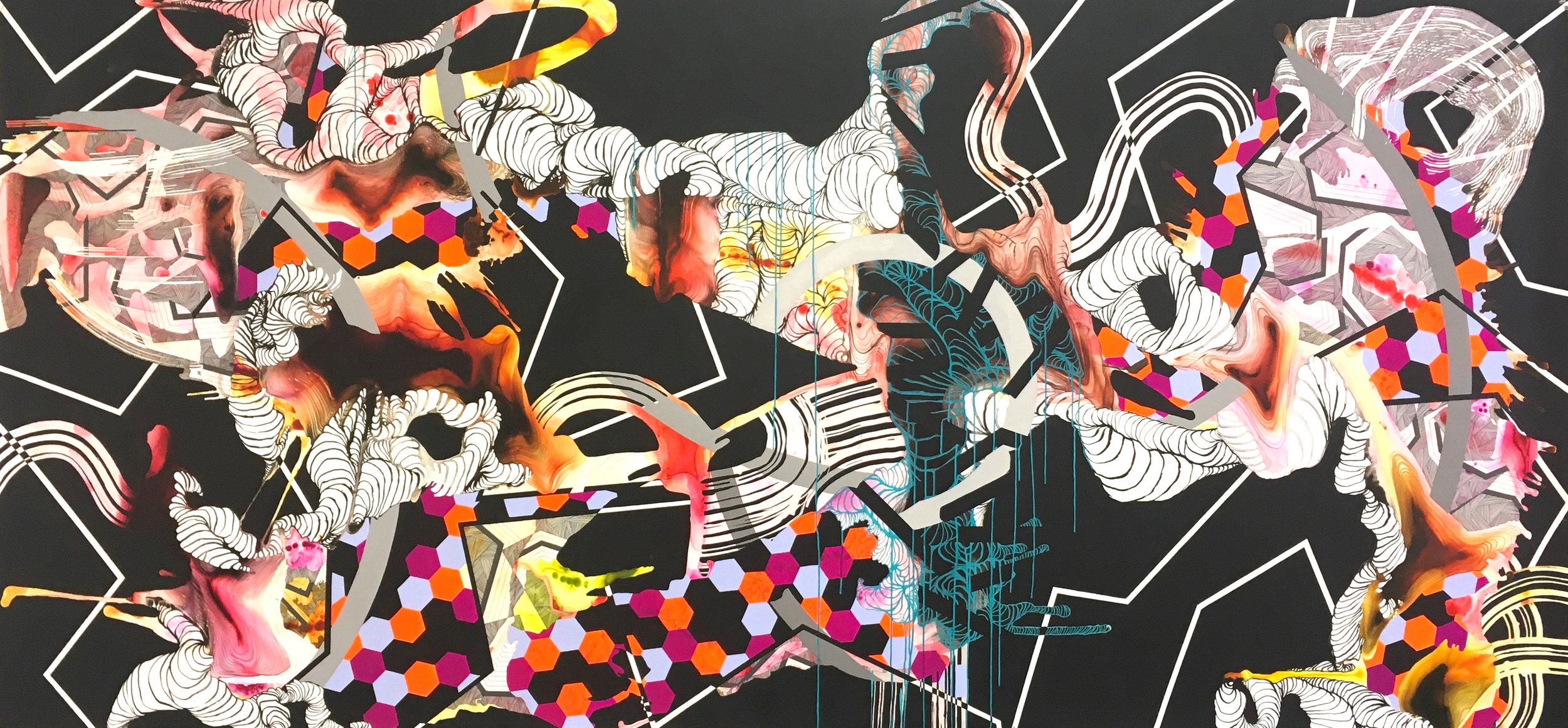 Panoramic Visions for a Fragmented Landscape, Orange Version I. Highflow acrylic, mixed media, and spray paint on yupo. 60in x 182in. 2017 .