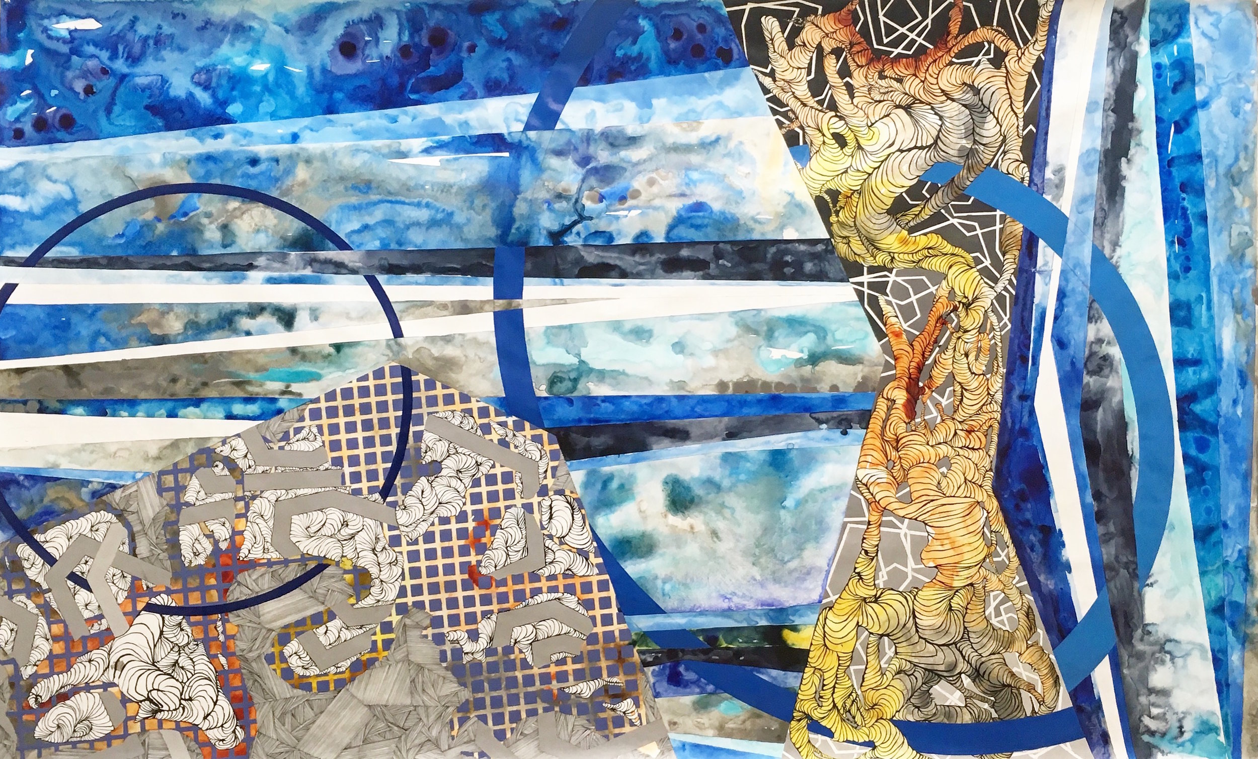 Geography of Horizons and Planes II. Highflown Acrylic, gouache and mixed media on tyvek. 103in x 58in. 2017