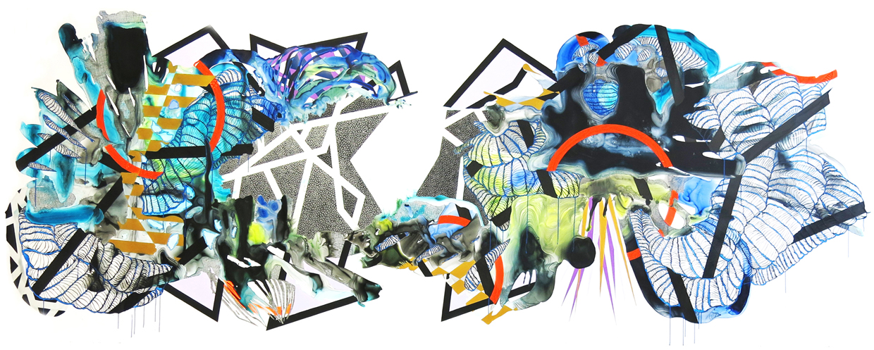 Panoramic Visions for a Fragmented Landscape, Blue Version I. Highflow acrylic, mixed media, and spray paint on yupo. 60in x 182in. 2017.