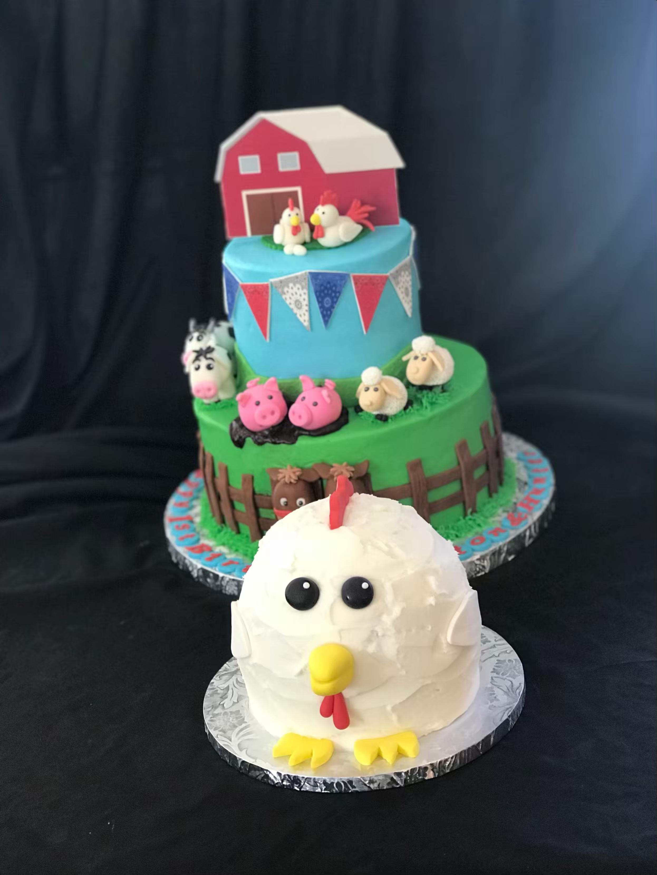 farm theme birthday with chicken smash cake