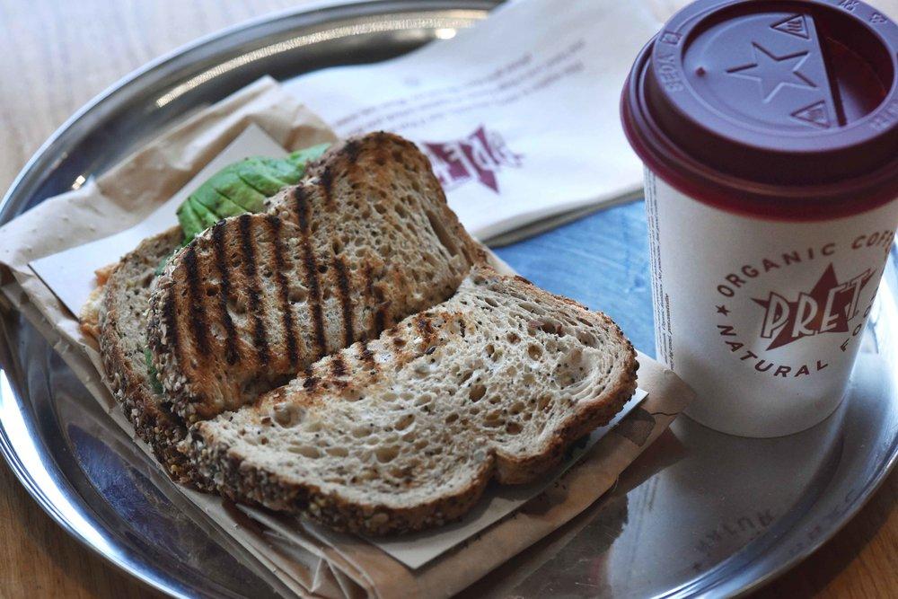 Pret a Manger, avocado toast, breakfast, London, U.K. Image©thingstodot.com