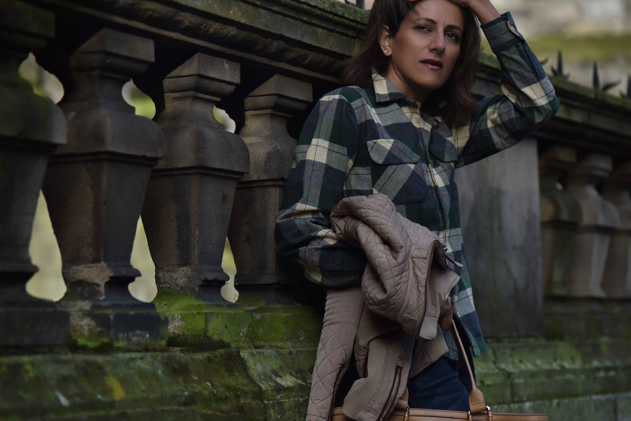 Ralph Lauren check shirt, Zara quilted jacket, True Religion jeans, Edinburgh, Scotland. Image©thingstodot.com