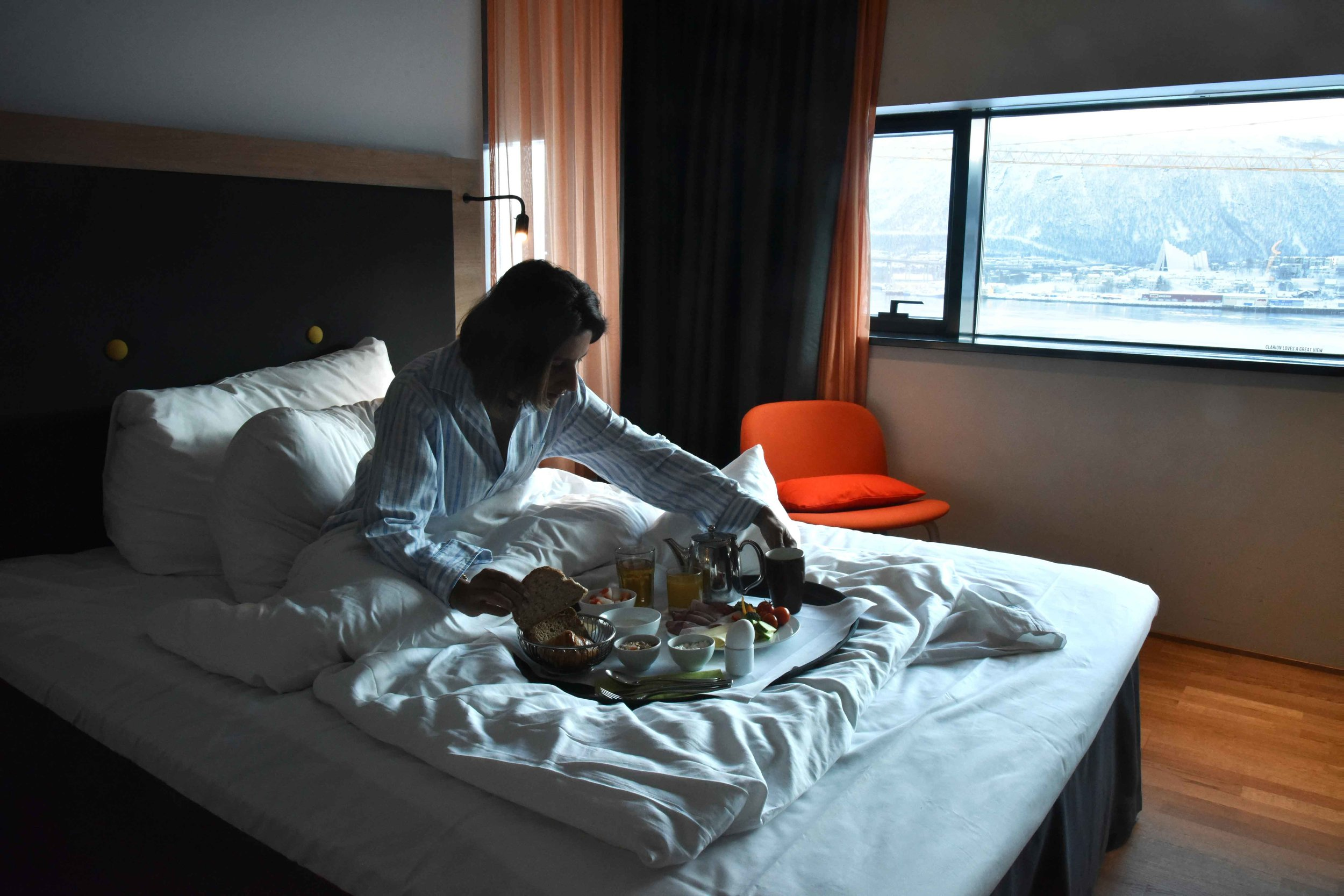 Breakfast in bed,Clarion Hotel the Edge, Tromso, Norway.Image©thingstodot.com