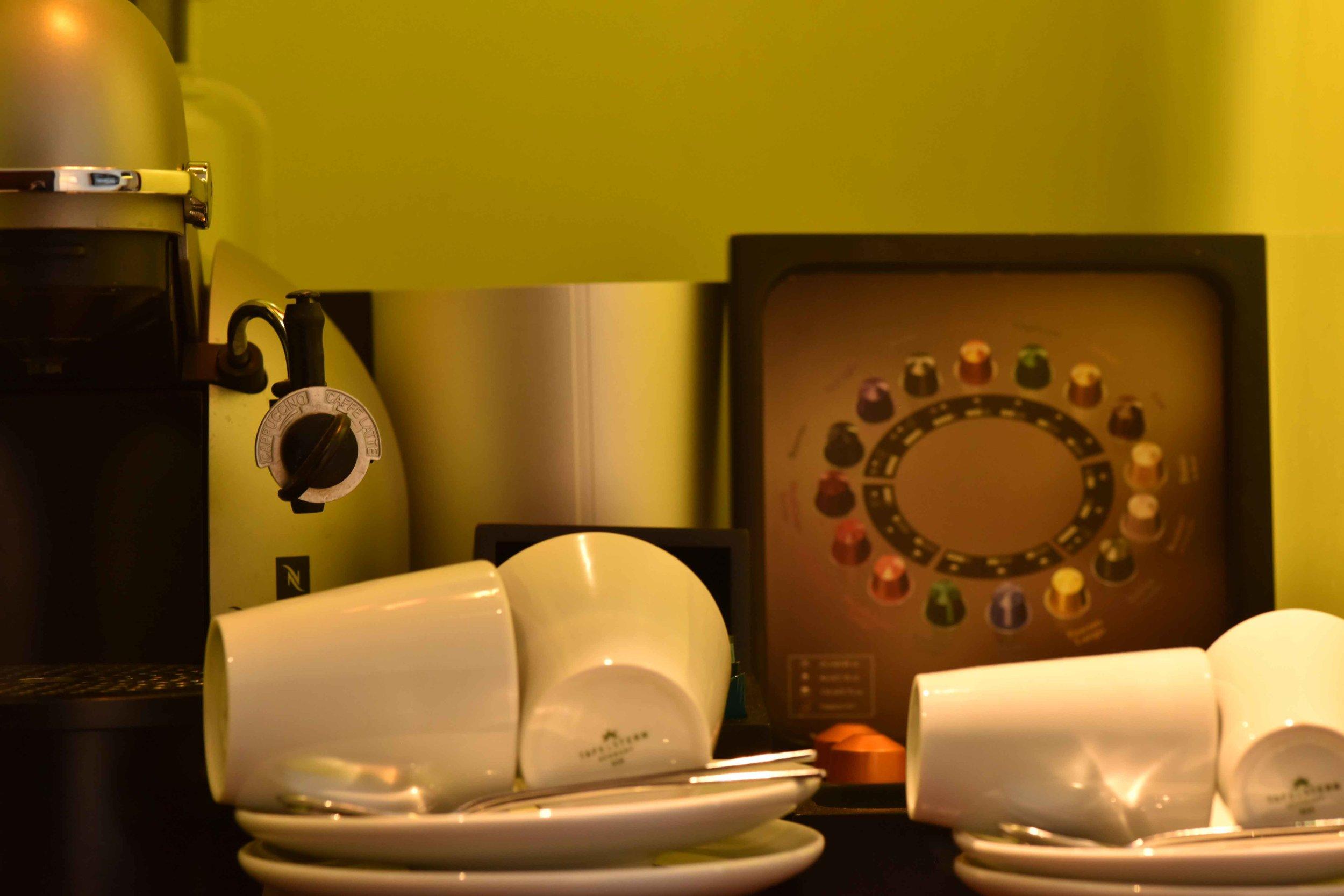 Nespresso machine, superior room with canal view, Sofitel Legend Amsterdam The Grand. Image©thingstodot.com