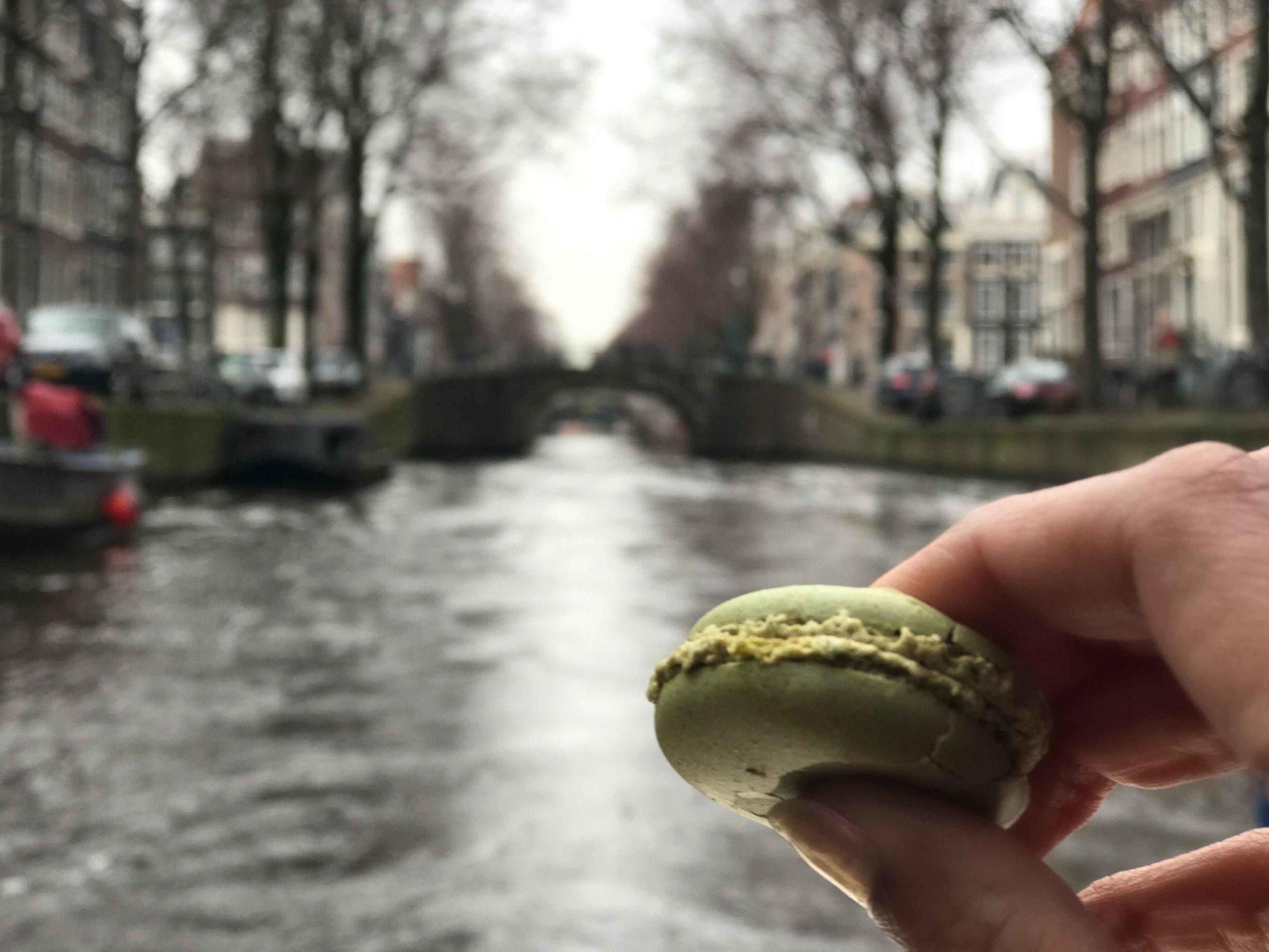 Macaron over the river Amstel,Grand Boat Tour, Sofitel Legend Amsterdam The Grand. Image©thingstodot.com