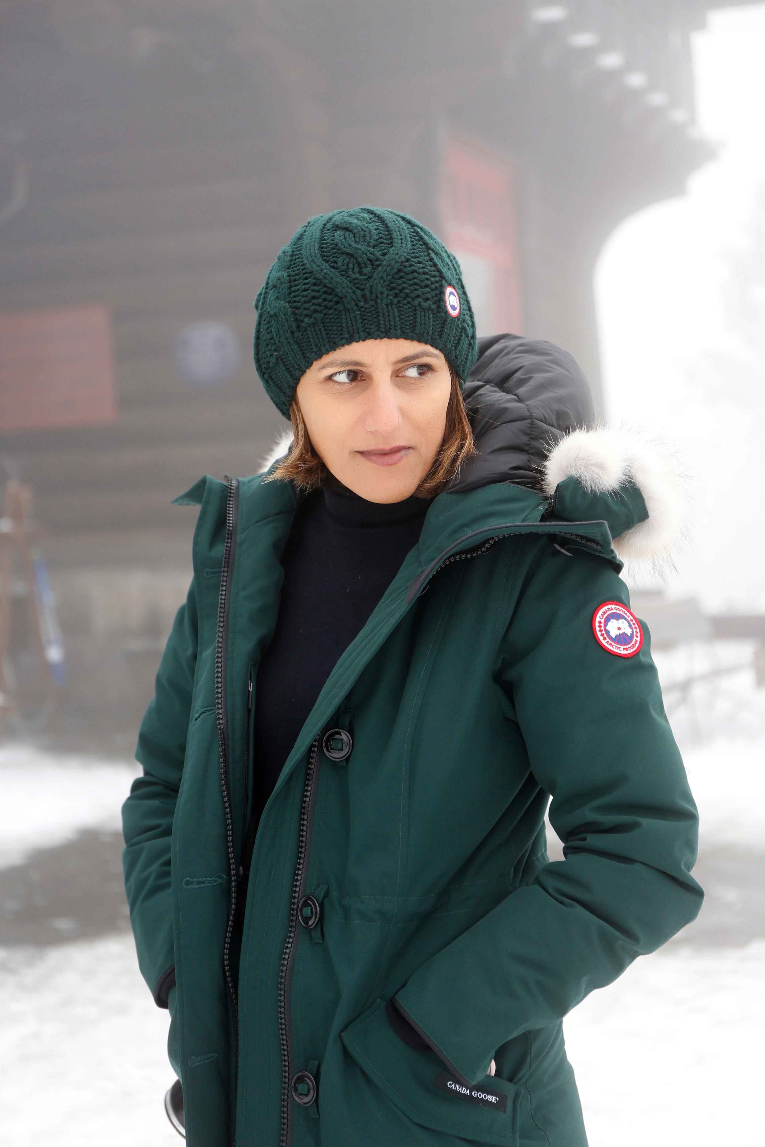 4086fa112 Street style in Oslo, Norway: Canada Goose Rossclair Parka & beanie ...