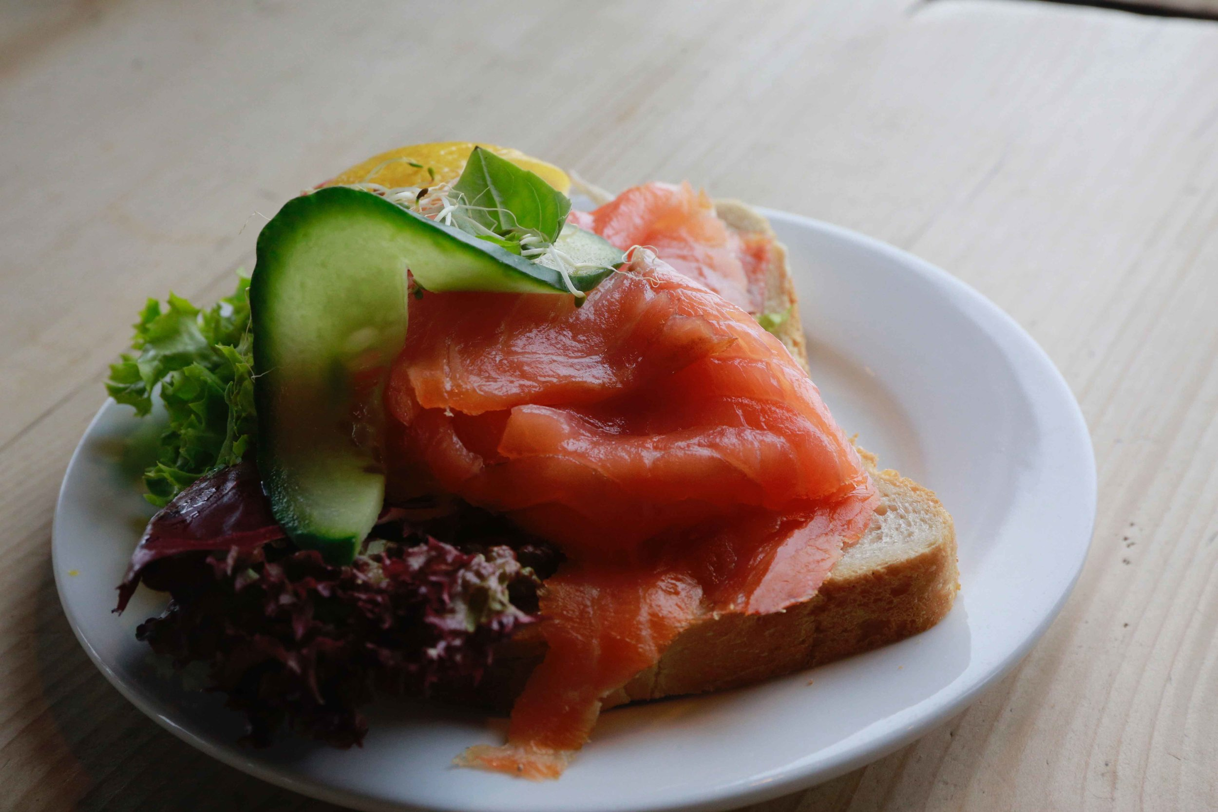Open salmon sandwich, Frognerseteren, traditional Norwegian café & restaurant, Oslo. Photo: Oslo Photo Tour. Image©thingstodot.com