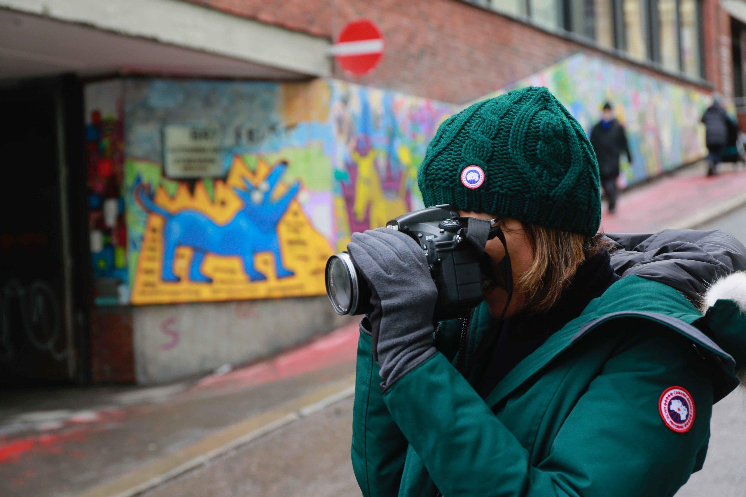 Canada goose Rossclair parka, beanie,Street Art, Brenneriveien & Vulkan,Oslo. Photo: Oslo Photo Tour. Image©thingstodot.com
