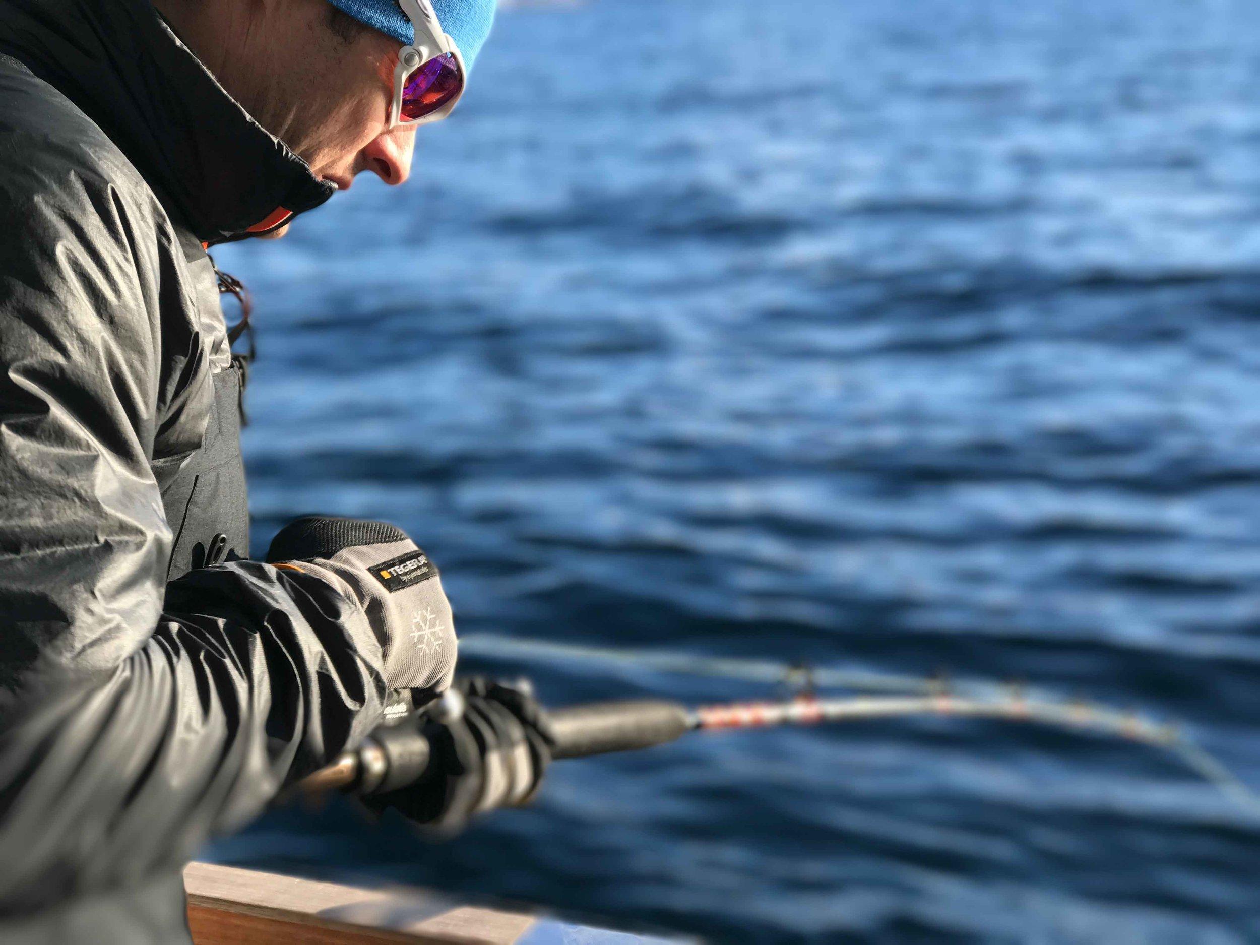 Fishing, Boat cruise, Lyngen fjords, organized by Lyngen Lodge, Arctic Circle, Norway.Image©thingstodot.com