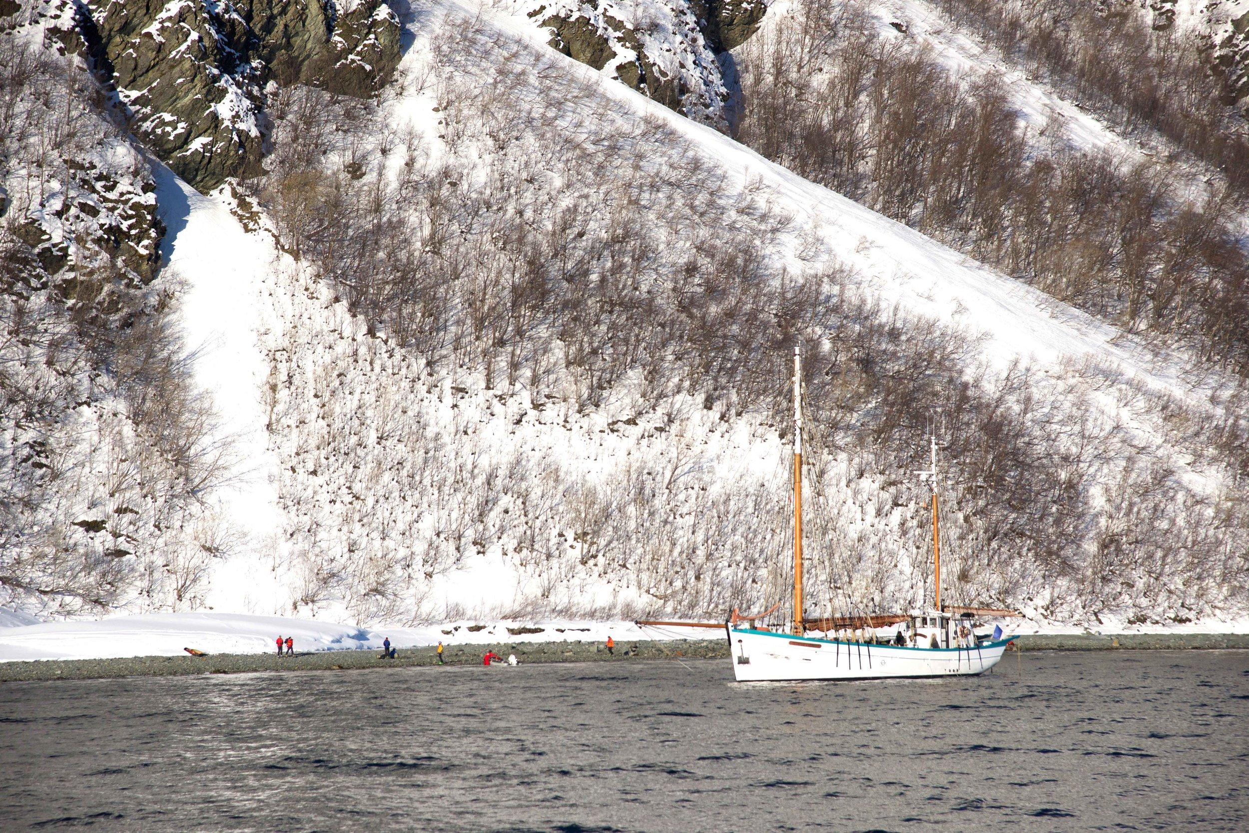 Skiers,Lyngen fjords, organized by Lyngen Lodge, Arctic Circle, Norway.Image©thingstodot.com