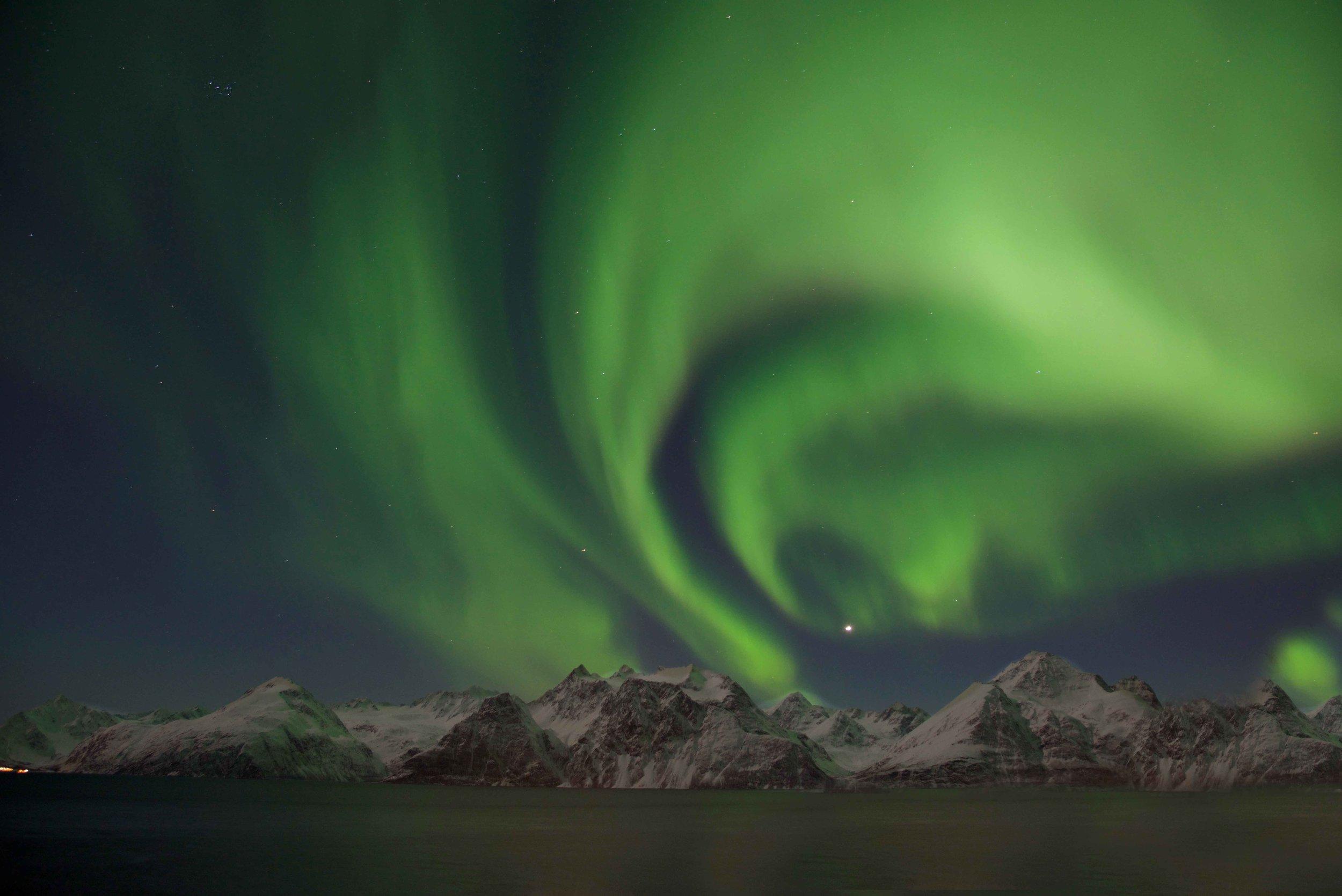 Northern lights, aurora borealis, Lyngen fjord, Lyngen Lodge, northern Norway. Image©thingstodot.com