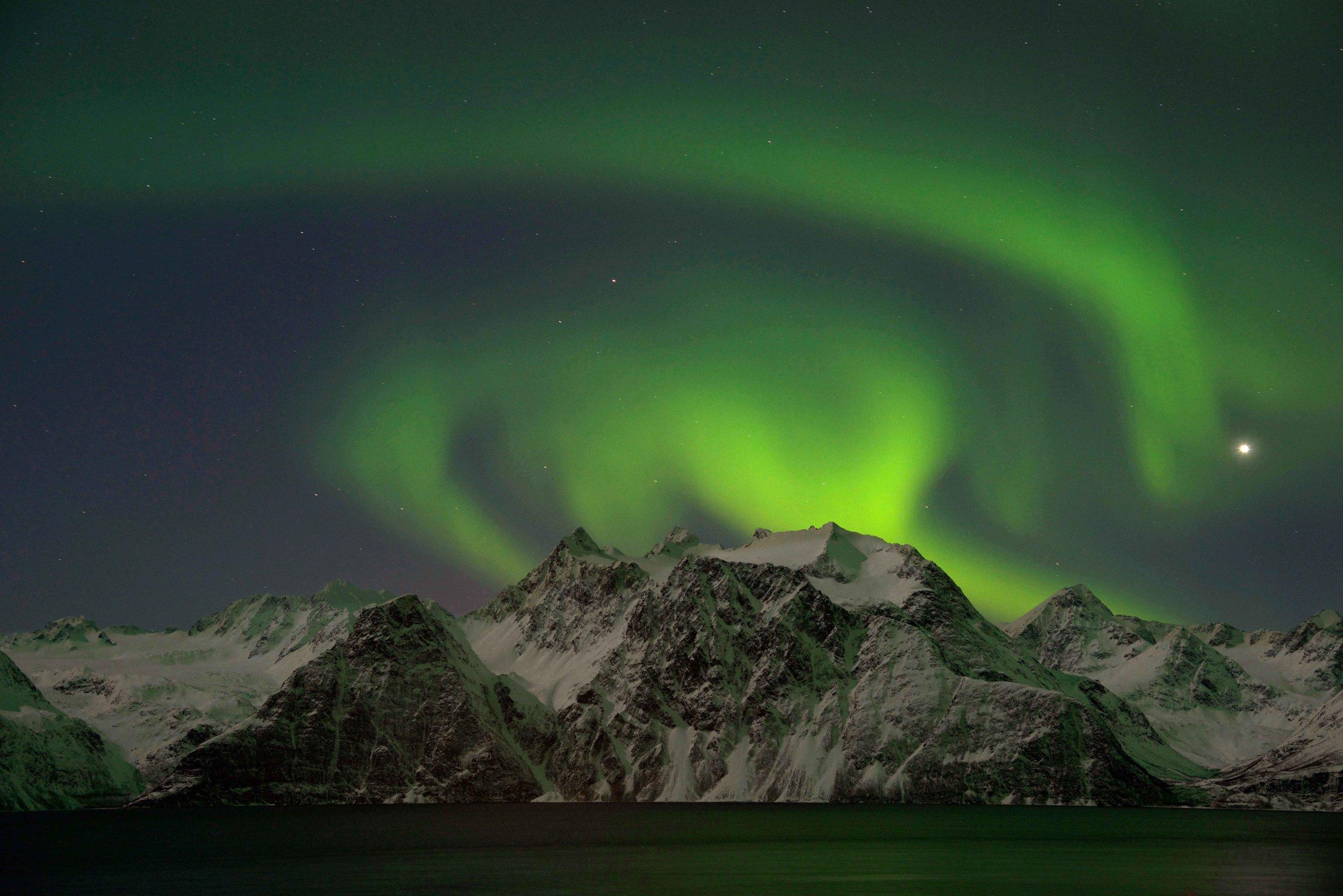 Northern Lights, Aurora Borealis, Lyngen Fjord, shot from Lyngen Lodge, Norway. Image©thingstodot.com