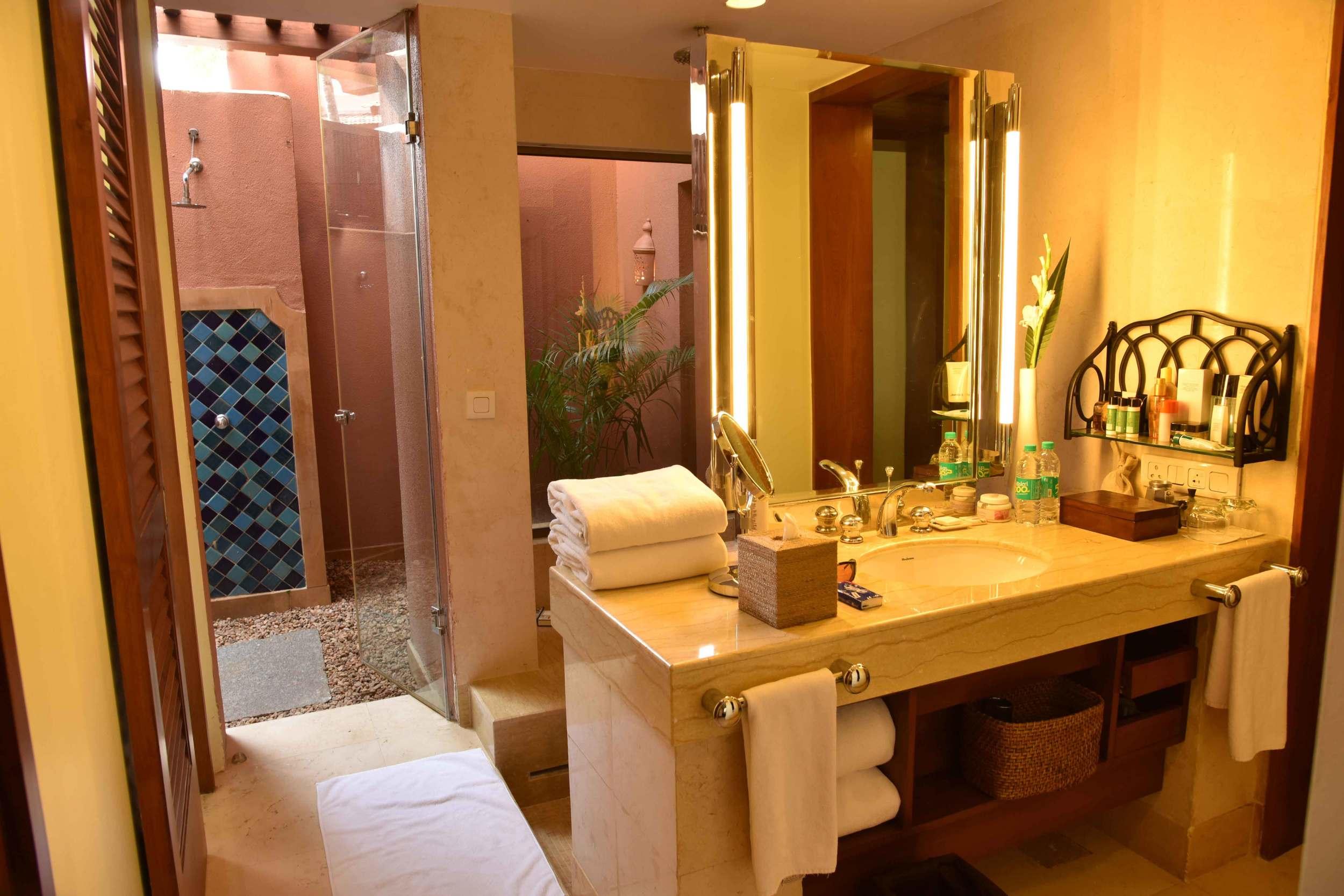 Spa inspired bathroom,Park Hyatt, Goa, India, beach resort, luxury spa resort. Image©thingstodot.com