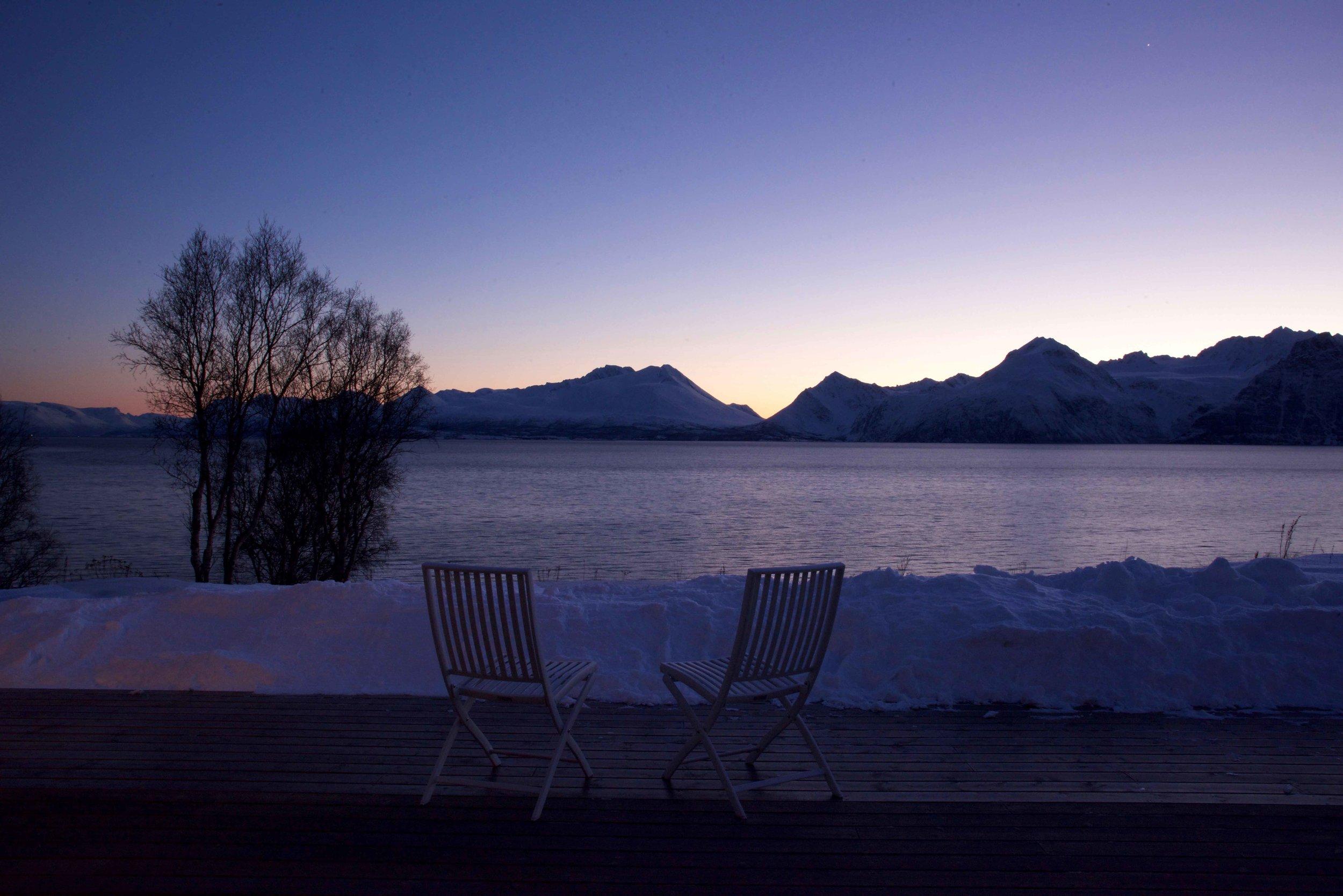Sunset, Lyngen fjords, Arctic Circle, Norway, Lyngen Lodge. Image©thingstodot.com