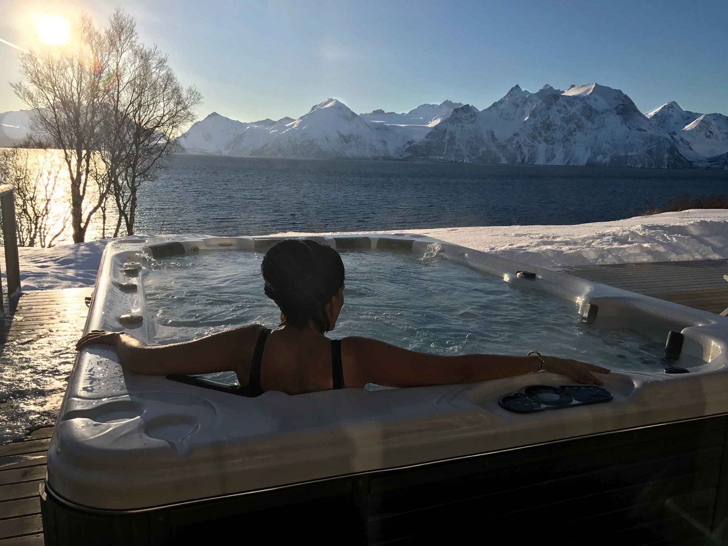 Arctic spa, Lyngen Lodge, Lyngen Fjords, Arctic Circle, Norway. Image©thingstodot.com